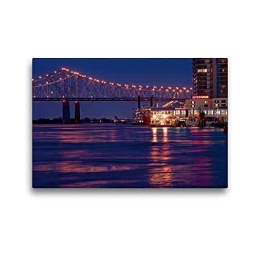 Calvendo Premium Textil-Leinwand 45 cm x 30 cm quer, New Orleans River Walk | Wandbild, Bild auf Keilrahmen, Fertigbild auf echter Leinwand, Leinwanddruck Orte Orte - Mississippi-brücke