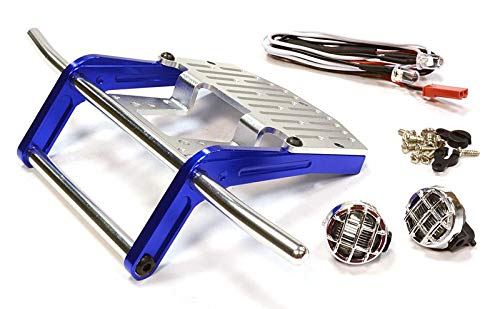 Integy RC Model Hop-ups C25990BLUE Billet Machined Front Bumper w/ LED Light for Tamiya Scale Off-Road CC01 -