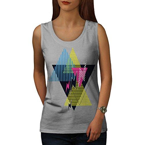 Dreieck Stil Muster Blinken 80er Jahre Damen S-2XL Muskelshirt   Wellcoda  Grau