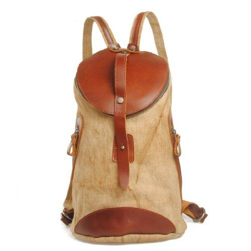 Avachee fourre-tout Rétro de toile et en cuir véritable sac à dos Casual de promenade randonnée Camping Voyage (Kaki)