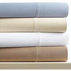 Linens Limited Microfibre Fitted Sheet, Cream, Double