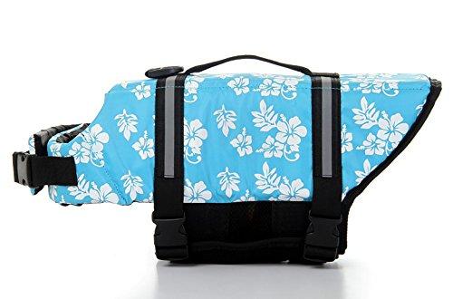 Cipway Hunde-Schwimmweste mit Reflektierenden Streifen für Hunde (XXL, Blaue Blume)