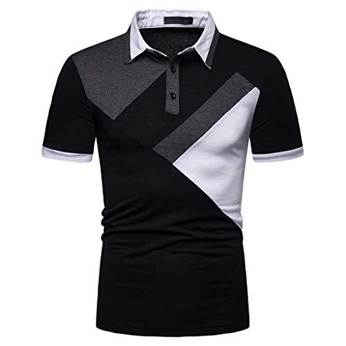 Oliviavan Herren Poloshirt Langarm Polohemd Polo Shirts mit Streifen Polokragen Mode-Sweatshirt Kurzarm Top Button Patchwork Fashionable T-Shirt -
