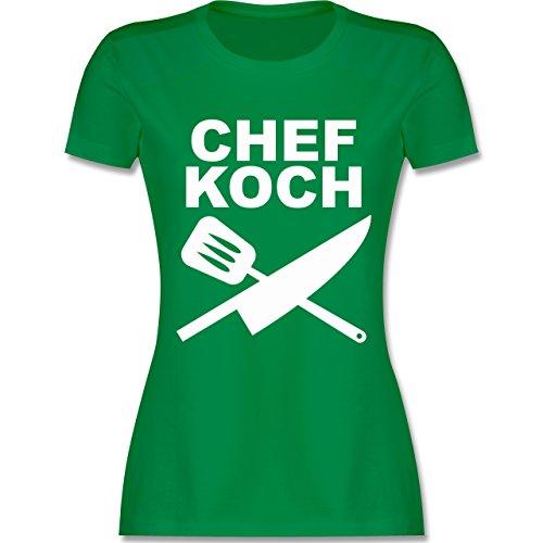 Küche - Chefkoch Messer - tailliertes Premium T-Shirt mit Rundhalsausschnitt  für Damen Grün