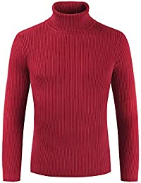 BUSIM Men's Long Sleeve Sweater Autumn Winter High Slim Slim Pullover Sweater Shirt Solid Color Tops Warm Jacket...