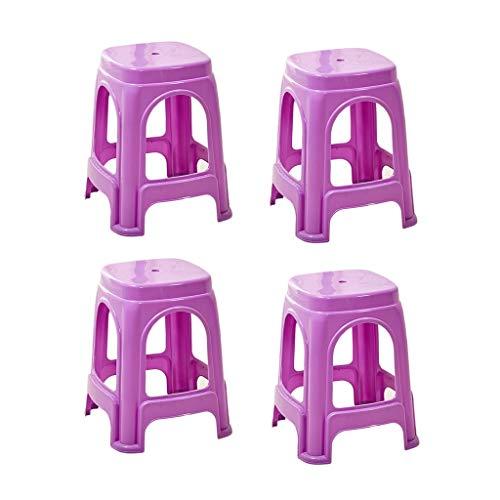 Krankenhaus-Hocker, Begleitender Hocker, stapelbarer Plastikhocker im Freien, Hocker, Gartenbank, Esszimmerstuhl, Erwachsener, Hocker (Color : Purple)