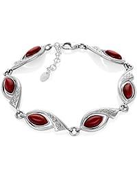 LillyMarie Damen Armband Echt Silber Goldfluss rot Längen-verstellbar  Hochwertiges Etui aus Holz Weihnachtsgeschenke für 1a537dd109