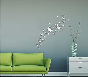 design freunde 354 selbstklebende 3d schmetterlinge spiegel dekoration wandtattoo wanddeko. Black Bedroom Furniture Sets. Home Design Ideas