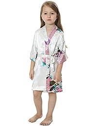 joytton Kids pavo real Kimono de satén rayón túnica albornoz camisón