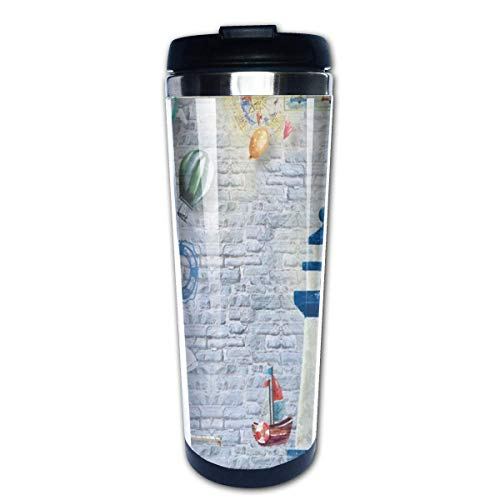 Blue and Red Light House Coffee Mug Leakproof Insulated Thermos Cup Stainless Steel Coffee Tumbler - Red Cup Coffee House