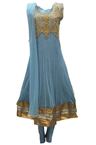 CS2016 Türkis und Gold Churidar Anzug Indian Bollywood Churidar Suit Medium (Full Bust Size 40 Inches) (Verziert Medium Sleeve)