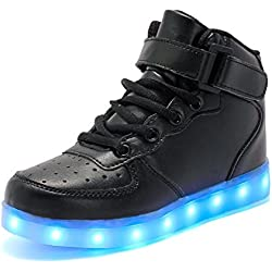 Rojeam Unisexo Adulto Altos LED Shoes Zapatos Deportivos USB Charging Aire Libre Athletics Casual Parejas Zapatos Sneaker