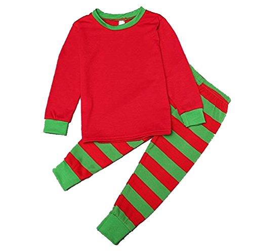 CeRui Natale Famiglia Biancheria Da Notte Set Pigiama A Righe Di Cotone Outfit Bambini Rossoverde