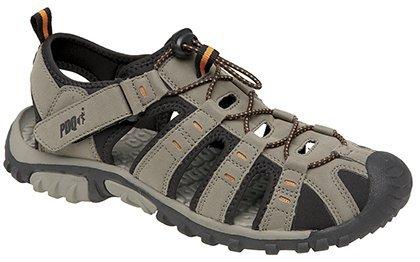 Pdq - sandali sportivi da uomo con chiusura toggle & touch, beige (dark taupe/orange), 41.5