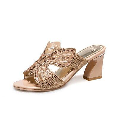 LvYuan Damen-Sandalen-Kleid Lässig-Glanz maßgeschneiderte Werkstoffe-Niedriger Absatz-Andere Neuheit Club-Schuhe-Grün Gold Gold