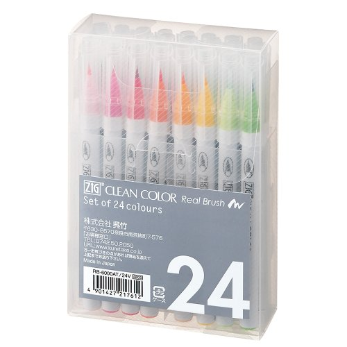 kuretake-zig-clean-color-real-brush-24vrb-6000at-24v-japan-import