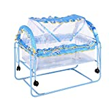 TMY Multifunktions Metall Babybett Kinderbett Laufstall Bett Kinderbett Trolley Schaukel Bett mit Roller Moskitonetz Neugeborenen Kinderbett (Color : Blue)