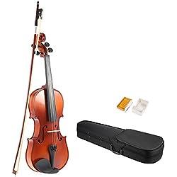 ammoon Full Size 4/4Bois Massif fini antique Violon Tapis Fiddle épicéa visage Planche avec Hard Case Bow Rosi