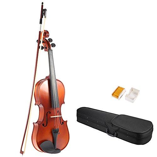 Antike Massivholz (ammoon 4/4 Full Size Massivholz Antike Violine Fiddle Matte Finish Fichte Gesicht Brett mit Hard Case Bow Rosi)