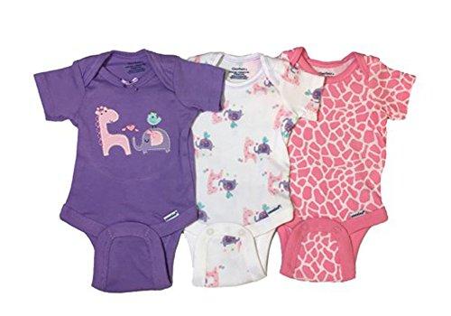 Gerber Baby Girls Onesies Bodysuits 3 Pack Purple Animals Newborn -