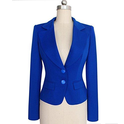 Value Buy Go Go Go Damen-Mode-lange Hülse dünne gepaßte Damen-Büro-Blazer-Klage-Jacke Blau
