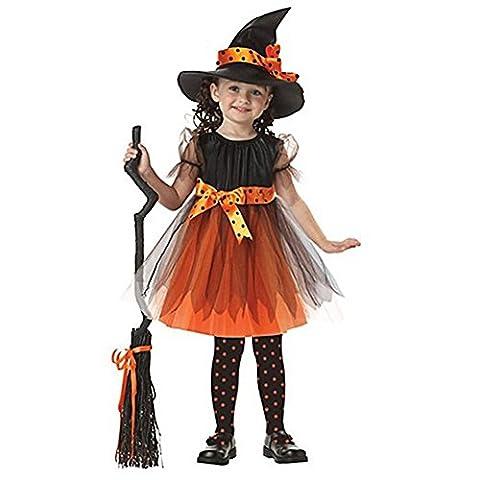 Maquillage Halloween Pour Les Filles - iEFiEL Déguisement Halloween Sorcière Robe + Chapeau