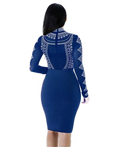 JOTHIN Damen Bodycon Club Kleid Knielang Einfarbige Turtleneck Kleid Etuikleider Langarm Freizeit Kleider Partykleid Perspective Blau