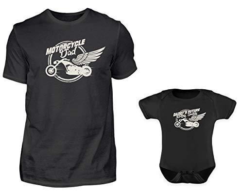 erlook Motorradfahrer Spruch Tshirt Und Baby Body Strampler Set Papa Kind Partner Look Für Herren Und Jungs (M & 0-6 Monate) ()