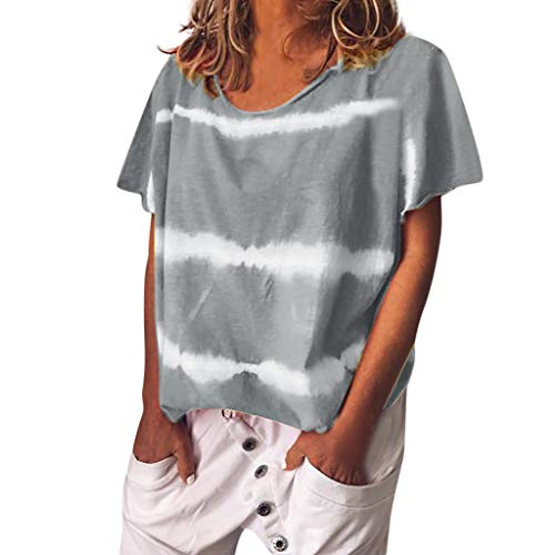 Kviklo Deman Plus Size T-Shirt Top Gebatiktd Streifen Druck Fashion Loose Bluse Oversize(L(42),Grau) (Plus Size Snake Print Leggings)