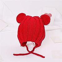 ETMAAA Herbst Und Winter Hüte Jungen Und Mädchen Persönlichkeit Wollhut Kinder Wolle Ball Einfarbig Gestrickte Kopfbedeckungen