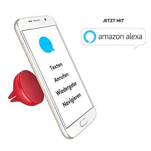 Logitech ZeroTouch KFZ-Handyhalterung (mit Sprachsteuerungs-App und Amazon Alexa, exklusiv für Android) rot