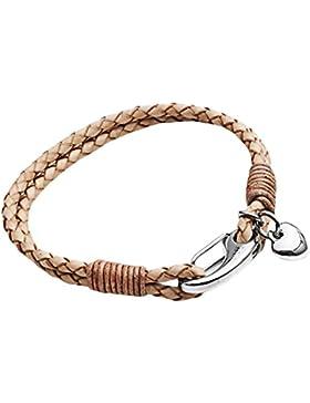 Tribal Steel, Damenarmband aus Naturleder mit Herz-Charm und Karabiner, 19cm lang