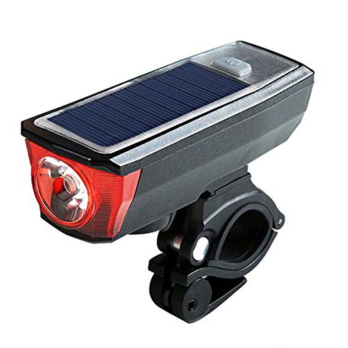 OMJNH Luz de Bicicleta, luz Solar luz de bocina Carga USB Equipo de conducción luz de Advertencia Faros de Bicicleta adecuados para Montar Aventura