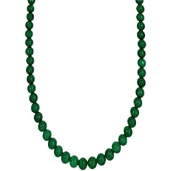 Kastiya Jewels Emerald Green Coloured Quartz Semi Precious Gemstone Beaded Necklace For Women