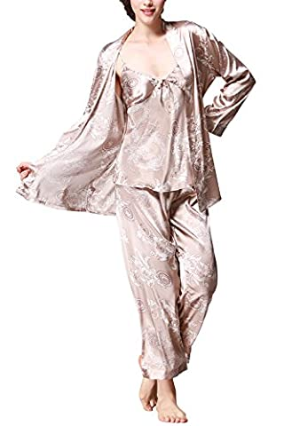 Dolamen Damen Schlafanzug, Lang Ladies Pyjamas, 3-in-1Luxus & Weich Satin Schlafanzug Nachtwäsche Nachtkleid Lingerie Pyjamas, Lange Ärmel & Lange Hose (XXX-Large, (Weiche Womens Chemise)