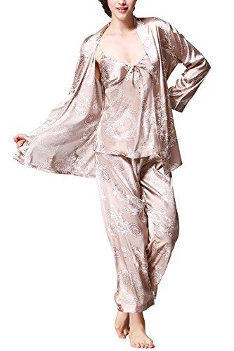 new product b579b 8055d Dolamen Damen Schlafanzug, Lang Ladies Pyjamas, 3in1Luxus ...