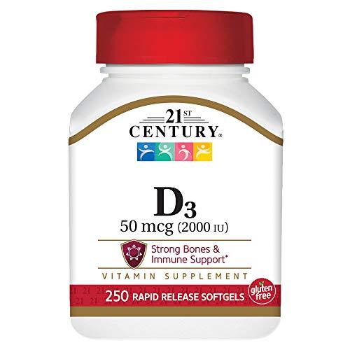 Vitamin D3 2000 IU, 250 Flüssige Gelkapseln - 21st Century Health Care -
