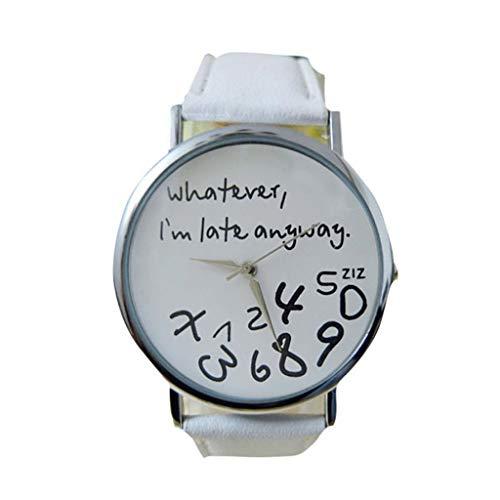 DAYLIN Relojes Pareja Hombre Mujer Cuero Relojes Más Vendidos de Chico Chica Estudiante Reloj Deportivo Niño Niña Reloj de Pulsera de Cuarzo Analogico Wrist Watch (Blanco/Negro)