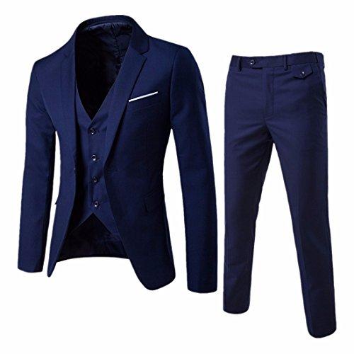 QIYUN.Z Männer Slim Fit One Button Anzug Bräutigam Tuxedo Business Weste Hose 3 Stück Sets (Tuxedo Männer Prom)