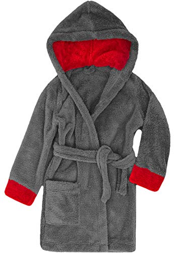 Timone Kinder Bademantel Kids(Graphite/Rot (719/615), 98-104)