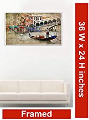 999Store Wooden Framed Printed Beautiful Artwork Canvas Painting (36X24 Inches)