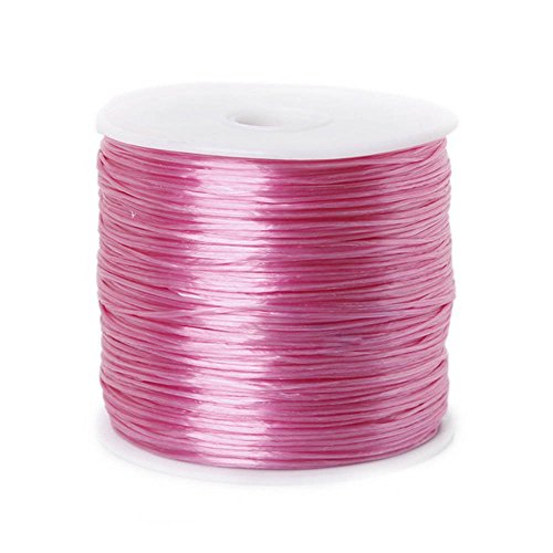 Greenpromise Nylonfaden, elastisch, bunt, 0,5mm, Kordel zur Schmuckherstellung, Perlenarmband, Angeldraht, 50 m / Rolle rose