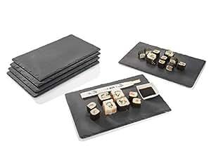Sänger Schiefer Platten Set 6 teilig 20 x 30 cm Tisch Untersetzer Servierplatten, mit Gummifüße zum Schutz, bereits geölt, 8 Ersatz Füße inklusive, Robustes Design mit edler Optik