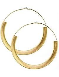 Grands anneaux d'oreilles couleur or, métal enroulé