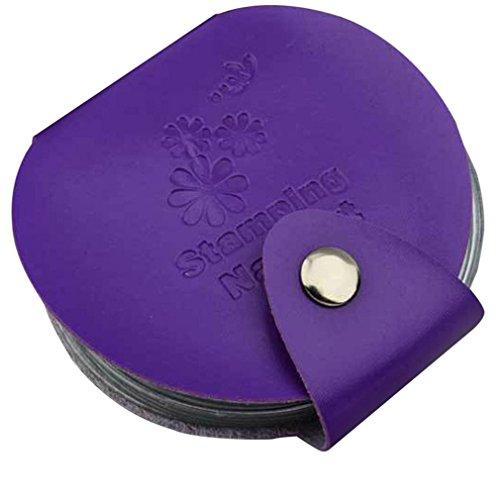 Kolylong® Organisateur Sac De Stamp Stamping Nail Art DIY Holder ModèLe Image Plate Case (Violet)