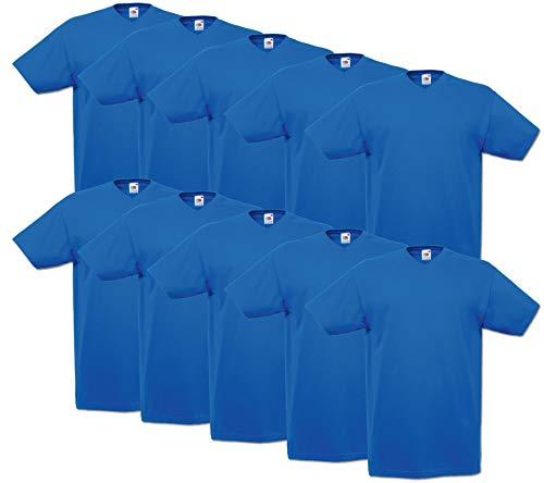 10 Fruit of the loom T Shirts V-Neck M L XL XXL V-Ausschnitt Diverse Farben auswählbar (XXL, Royalblau) -