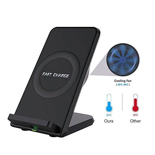 Cargador Inalámbrica Rápida,Con un ventilador de refrigeración, Inalámbrica Qi Cargador para todos los dispositivos compatibles con Qi como Samsung Galaxy S8 etc.