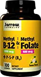 Jarrow Formulas Methyl B-12 & Methyl Folate, 400Mcg Lemon - 100 Lozenges - 100...