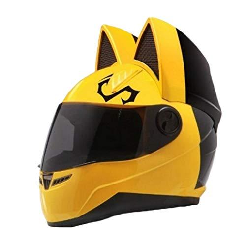 YongBe Casco per motocicli modulari Open-Face Uomini Donne Adult Sicurezza Casco da Corsa per Moto elettriche A Prova di Vento Orecchie di Gatto Caschi Moto Flip-Up Full-Face,Yellow-M / (53CM ~ 55CM)