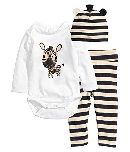 babyicon 3pc Baby Boy Girl Tutina + Cappello + pantaloni in cotone a maniche lunghe tuta Zebra 80cm: (6-9 Months)